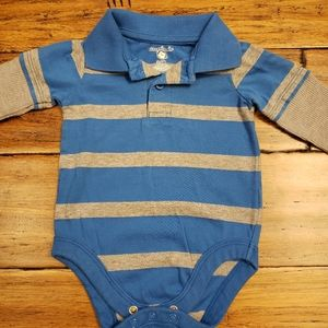 5/$20 striped long sleeve onsie 3/6m
